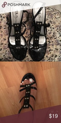 Black patent sandals Black open toe sandals with silver nail head accents Chinese Laundry Shoes Sandals