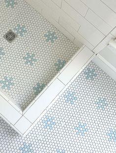 penny tile flower pattern, use same flooring inside and outside of shower floor Shower Tile, House Styles, Beach House Decor, Tile Floor, House Bathroom, Penny Tile, Beach House Bathroom, Home Decor, House Interior