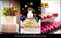 Wedding cake with flower topper and pink and green cupcake tower - The White Room, St. Augustine, Florida www.corinnahoffman.com