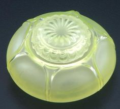 "R. LALIQUE Inkwell, ""Nenuphar,"" clear and frosted with yellow patina, c. 1910. M p. 315, No. 425. Engraved Lalique. 2 3/4"""