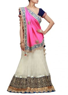 Cream and pink lehenga with sequence and zari work