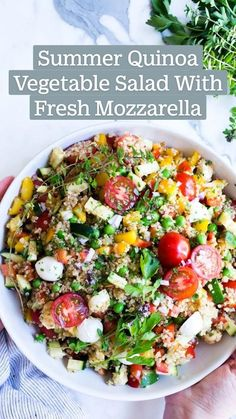 Vegetable salad Delicious and Healthy Summer Meal Best Salad Recipes, Summer Salad Recipes, Salad Recipes For Dinner, Dinner Salads, Veggie Recipes, Lunch Recipes, Whole Food Recipes, Cooking Recipes, Healthy Recipes