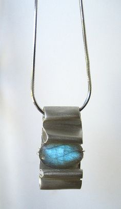 "Fold Formed Jewelry / ""Folded"" Silver and Labradorite Pendant,"