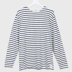 Wood Wood Dress Blue Harrison Long Sleeve T-Shirt : Harrison is a classic Breton stripe long sleeve T shirt from Danish brand Wood Wood.  Constructed from 100% cotton lightweight fleece.