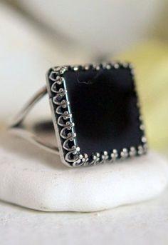 Black Onyx Square Gemstone Ring in Silver