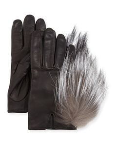 Leather Gloves with Fox Fur, Black by Inverni at Neiman Marcus.