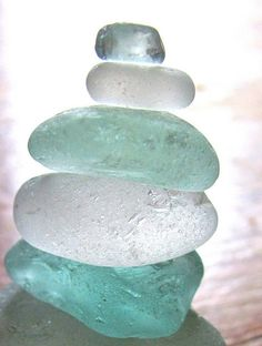 Make your own sea glass. Glass in jar with sand and shake.