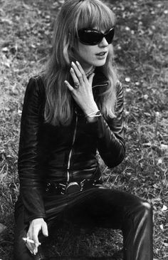 Marianne Faithfull on the set of 'The Girl on a Motorcycle', 1968. Her leather fur-lined catsuit was designed by Lanvin.