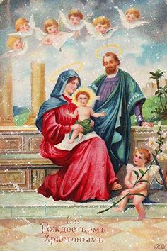 Greetings: 'The Holy Family' A Joyouse Christmas' Old PC - showing cherubs Old Christmas, Vintage Christmas, Victorian Christmas, Photo Postcards, Vintage Postcards, Holy Family, Christmas Greeting Cards, Holiday Cards, Native Art