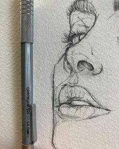 Love the rawness of ghis illustration sketches, drawing sketches, portrait sketches, sketch art Pencil Art Drawings, Art Drawings Sketches, Cool Drawings, Drawing Faces, Realistic Drawings, Portrait Sketches, Nose Drawing, Sketches Of Faces, Drawing People Faces