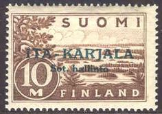 East Karelia 1941 green overprint on Finland 10mk brown. p:14 [Facit 14,     Mi:FI-EK 14]