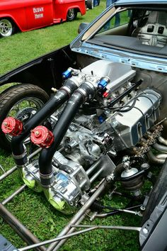 "Project - Ford Boss 429 ""shotgun"" motor with twin gear driven superchargers. Motor Engine, Car Engine, Performance Engines, Race Engines, Combustion Engine, Drag Cars, Us Cars, Twin Turbo, Solar"