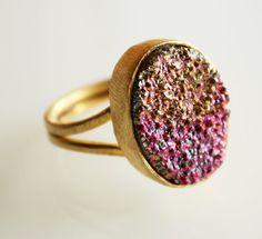 Fuschia Pink and Metallic Gold Druzy Ring