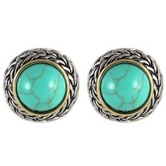 CHIC Celtic Braid Turquoise Stud Clip On Earrings