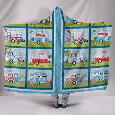 NO02-Retro Campers - Hooded Blanket WN