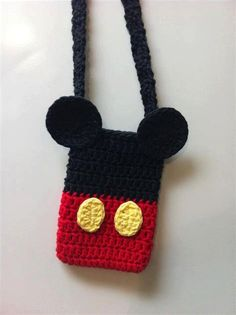 Items similar to Mickey or Minnie Mouse Disney inspired Crochet Bag Purse with Strap Cotton - Choose your Character on Etsy Free Crochet Bag, Cute Crochet, Crochet For Kids, Crochet Toys, Crochet Baby, Knit Crochet, Crochet Bag Tutorials, Crochet Purse Patterns, Crochet Purses