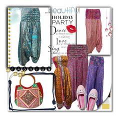 """Bohemian Vintage Sari Harem Pant"" by era-chandok ❤ liked on Polyvore featuring Keds, Manic Panic and vintage"