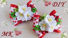"Бантики ""Вишенка"" 🍒 с цветами канзаши. МК/DIY 👐"