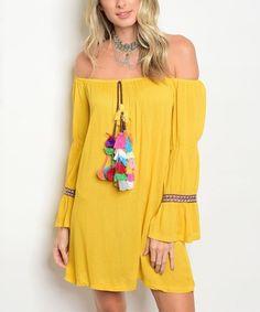 Mustard Off-Shoulder Dress | zulily