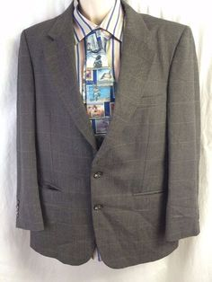 Burberrys Vintage Sports Coat 42 Windowpane Houndstooth Brown Pure Wool Vented  #Burberrys #TwoButton #vintageburberrys