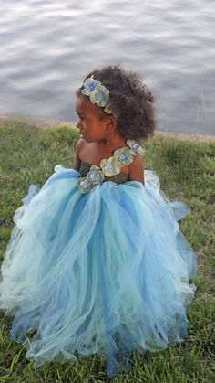 Sea Side Flower Girl Tutu Dress. Great for Beach Ocean by NaomiBlu, $69.00