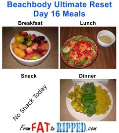 Beachbody Ultimate Reset Day 16 Meals