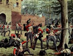 z- B Light Infantry Defending Entrance to Castle of Hougoumont, Waterloo (Mansell- 'Time, Life' Pictures)) Waterloo 1815, Battle Of Waterloo, British Army Uniform, British Soldier, Military Art, Military History, Site History, La Haye, American Revolutionary War