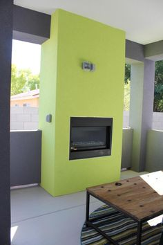 Lime Green Outdoor Fireplace!