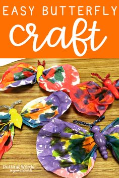 Check out this favorite Springtime craft of mine. Whether used as an extension activity after reading that classic Eric Carle caterpillar and butterfly book or as part of a bug unit, this craft is unique and fun but also simple enough even for your kids to need minimal help. I love it for addressing following directions, for working on basic concepts, for using with the EET or for reinforcing articulation drill. #butterflycraft #eet #springcraft #hungrycaterpillar #speechtherapy #preschool #bugs
