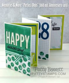 "Stampin' UP! Memories and More ""Perfect Days"" card pack used to create a 6 panel fold-out anniversary card, by Patty Bennett www.pattystamps.com"