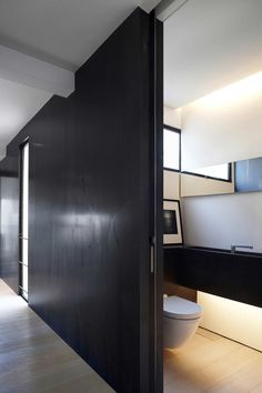 Small bathroom / Brookvale Park in Singapore by Tristan & Juliana #architecture #interiors #design #bathroom #minimalist #black #wood