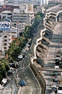 Bridge failure after an earthquake. A crumpled section of the Hanshin Expressway after the 7.3 magnitude Great Hanshin Earthquake of 1995