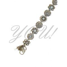Swarovski Crystal Bracelet, Floral Motif with White Tones at YOU! Boutiques #swarovski #crystal #bracelet #floral #white