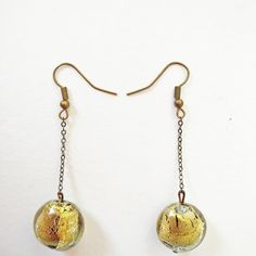 RN-89 Gold dust infused murano glass earrings