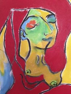 """Detail - """"Follow Your Bliss"""" This is a masterowrk original by Darinka Blagaj Oil and oiul stick on canvas Size: 8' x 36"""""""