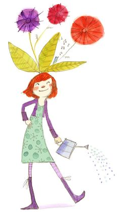 Illustration: Girl w/Watering Can