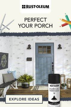 Give your entryway or outdoor porch décor a chic, farmhouse-style update with Rust-Oleum Universal Flat Black Spray Paint. #prideinthemaking House Paint Exterior, Exterior Doors, Home Renovation, Home Remodeling, Front House Landscaping, Front Door Colors, Porch Decorating, House Painting, Home Projects