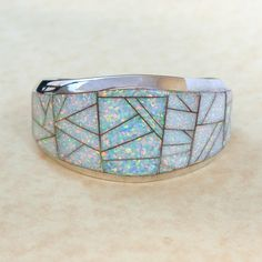 "Large Vintage Navajo Sterling Silver and Inlaid Opal Cuff Bracelet Signed ""ELY"""
