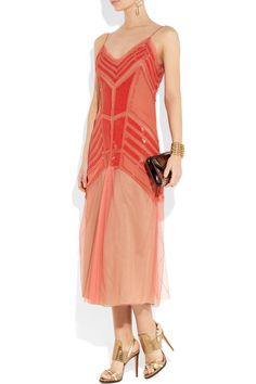 Alberta Ferretti|Beaded silk-chiffon and tulle dress