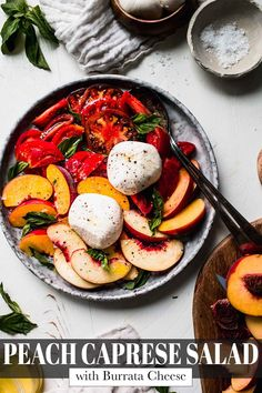 This fresh and tangy Peach Caprese Salad features sweet peaches, creamy burrata cheese, and juicy tomatoes. A perfect blend of summery flavors, this simple yet delicious salad is the ideal late summer side dish! Best Salad Recipes, Healthy Salad Recipes, Lunch Recipes, Summer Recipes, Easy Appetizer Recipes, Appetizers, Caprese Salad Recipe, Easy Pressure Cooker Recipes, Burrata Cheese