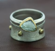 Aquamarine Stacking Ring Set with Cigar Band 22k Gold and Sterling Silver