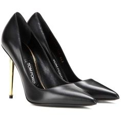 Tom Ford Leather Pumps (€1.075) ❤ liked on Polyvore featuring shoes, pumps, heels, tom ford, sapatos, black, real leather shoes, leather footwear, black shoes and tom ford pumps