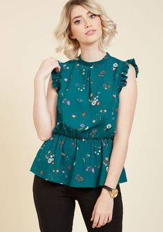 Peplum Professional Sleeveless Top in Teal Flowers. When it comes to styling the most unique blouses around, you show everyone how it's done with this teal top! #blue #modcloth