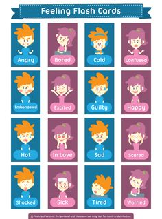 Free printable feeling flash cards. Download them in PDF format at http://flashcardfox.com/download/feeling-flash-cards/
