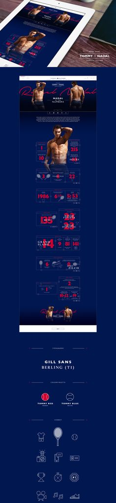 Tommy X Nadal Infographics - interface, icons, typography, colors  design concept on Behance
