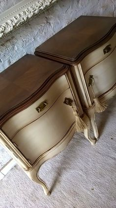 Painted and Refinished End Night Tables Painted Furniture Annie Sloan Chalk Paint General Finishes Java Gel Stain DIY Painting Inspiration Refurbished Furniture, Paint Furniture, Repurposed Furniture, Shabby Chic Furniture, Furniture Makeover, Furniture Design, Painted Buffet, Chalk Paint, Friends Video