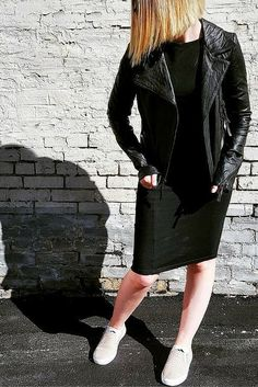 Leather Jacket and a little black dress. East Street Chic. www.sustainlux.com