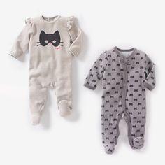 Lote de 2 pijamas com pés em veludo R Baby | La Redoute