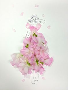 Little Flowers, Real Flowers, Flower Fashion, Fashion Art, Girly Drawings, In Natura, Fashion Design Sketches, Flower Dresses, Cute Wallpapers