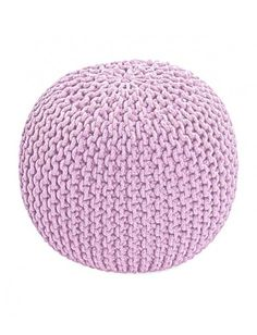 Cotton Pastel Pink Knitted Round Pouffe Footstool